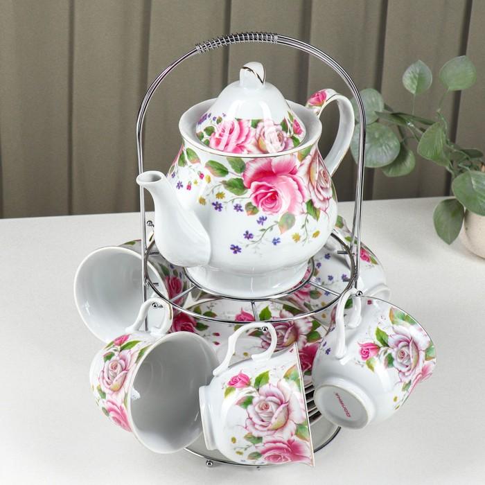 """Набор чайный на 6 персон """"Томная роза"""", 13 предметов: 6 чайных пар 230 мл, чайник 1 л"""