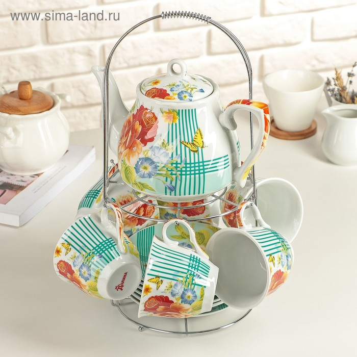 "Набор чайный на 6 персон ""Мари"", 13 предметов: 6 чайных пар 210 мл, чайник 1 л"