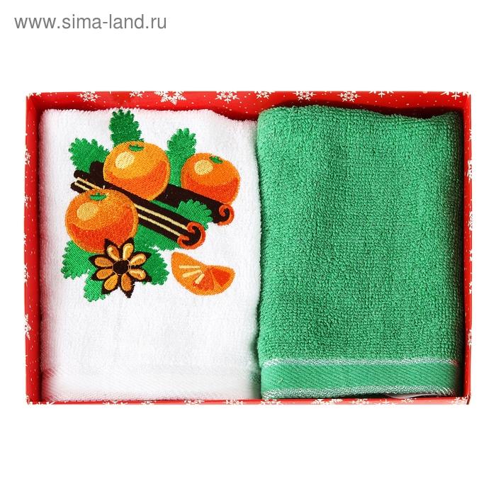 """Набор полотенец с вышивкой """"Collorista"""" Мандарины 30х70 см - 2 шт, 100% хлопок, 450 гр/м2"""