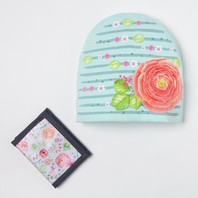 "Детский набор Collorista ""Цветок"" шапка р-р 54, 100% хб, кошелек 9,5х12 см текстиль"