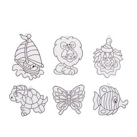 "Витраж-мини ""Рыбка, бабочка, лев, клоун, черепаха, кораблик"""