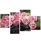 """Модульная картина на подрамнике """"Нежные розы"""", 2 — 30×45, 1 — 29,5×69, 1 — 34×69, 80×130 см"""