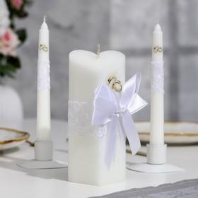 """Набор свечей """"Кружевной"""", белый : Домашний очаг 6.8х15см, Родительские свечи 1.8х17.5см"""