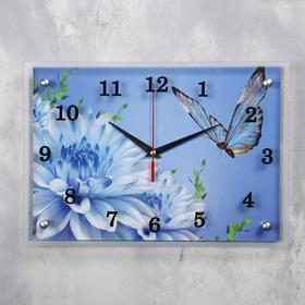 """Часы настенные прямоугольные """"Голубые цветы и бабочка"""", 25х35 см  микс"""