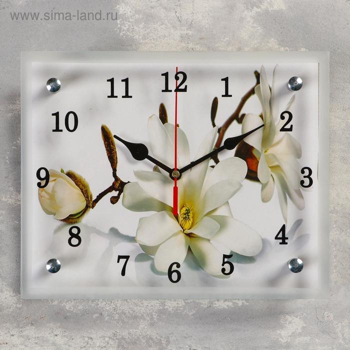 """Часы настенные прямоугольные """"Орхидея"""", 20х25 см микс"""
