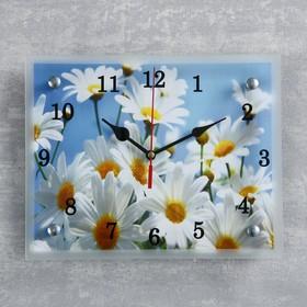 """Часы настенные прямоугольные """"Ромашки"""", 20х25 см микс"""