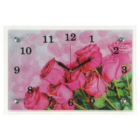 """Часы настенные прямоугольные """"Розовые розы"""", 20х30 см микс"""