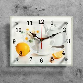 """Часы настенные прямоугольные """"Чайная церемония и лимон"""", 20х25 см микс"""