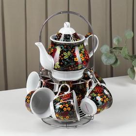 """Сервиз чайный на подставке """"Хохлома"""", 13 предметов: чайник 1 л, 6 чашек 210 мл, 6 блюдец"""