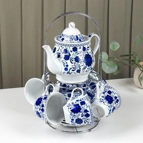 """Сервиз чайный """"Гжель"""", 13 предметов на подставке: 6 чашек 210 мл, 6 блюдец, чайник"""