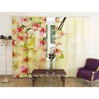 """Фотошторы """"Воздушная орхидея"""", ширина 150 см, высота 260 см, 2 шт, шторная лента, габардин"""