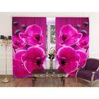 """Фотошторы """"Розовая орхидея"""", ширина 150 см, высота 260 см, 2 шт, шторная лента, габардин"""