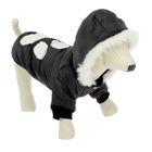 Куртка с капюшоном и мехом, размер L (ДС 34 см, ОГ 48 см), черная