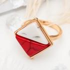 """Кольцо """"Инь и ян"""" прямоугольник, цвет красно-белый в золоте, размер 17,18,19 микс"""