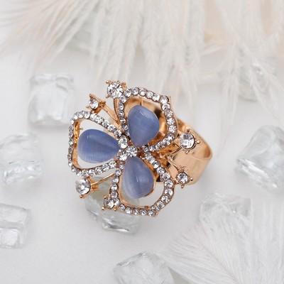 """Кольцо """"Цветочек"""" трилистник, цвет бело-голубой в золоте, размер 17,18,19 микс"""