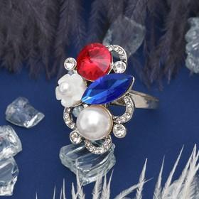 """Кольцо """"Летнее настроение"""", цветное в серебре, размер 17,18,19 микс"""
