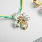 "Кулон на шнурке ""Нежность эмали"" цветок, бежево-зеленый"