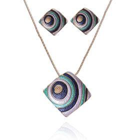 """Гарнитур 2 предмета: серьги, кулон """"Нежность эмали"""" ромб в круги, цветной, 45см"""