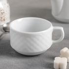 Чашка чайная 190 мл «Афродита», d=8 см, высота 5,5 см, длина 10 см, цвет белый