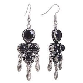 """Серьги эмаль """"Люстры"""", капля, цвет черный в черненом серебре"""