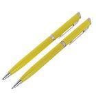 Ручка шариковая подарочная поворотная Стиль желтая с серебряными вставками