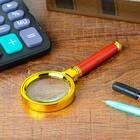 Лупа золото с коричневой ручкой 6х d=60мм пластик