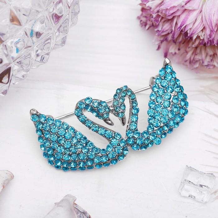 """Брошь """"Лебеди"""" пара, цвет голубой в серебре"""