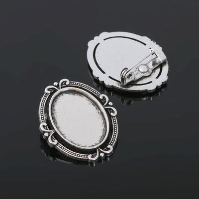 Основа для броши (набор 4шт), площадка 13*18мм, Х121, цвет черненое серебро