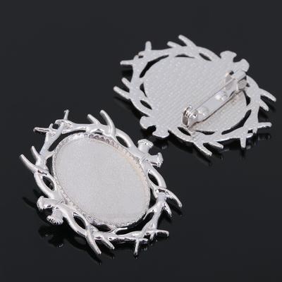 Основа для броши (набор 2шт), площадка 18*25мм, Х040, цвет серебро