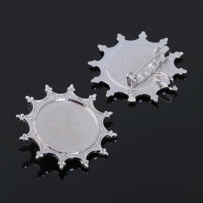 Основа для броши (набор 2шт), площадка 20мм, Х031, цвет серебро