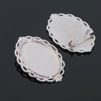 Основа для броши (набор 2шт), площадка 20*30мм, Х091, цвет серебро