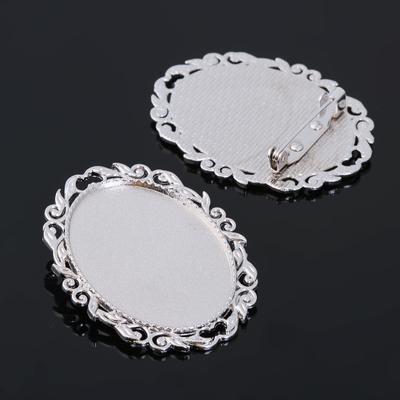 Основа для броши (набор 2шт), площадка 25*35мм, Х019, цвет серебро