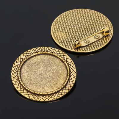 Основа для броши (набор 2шт), площадка 30мм, Х024, цвет черненое золото