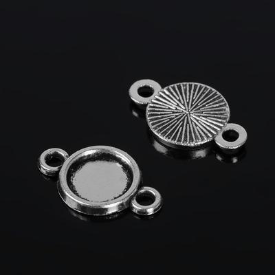 Коннектор (набор 4шт) площадка 8мм, JC-671, цвет черненое серебро