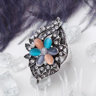 """Кольцо """"Цветок"""" в обрамлении, цветное в чернёном серебре, размер 17,18,19 МИКС"""
