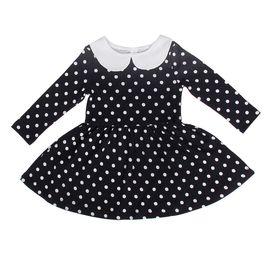 """Платье для девочки """"Осенний блюз"""", рост 140 см (72), цвет синий, принт горошек ДПД854067н"""