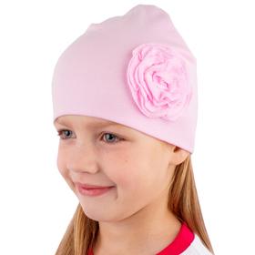 """Шапка для девочки """"Ветер"""", размер 50, цвет светло-розовый ДГШ778200"""