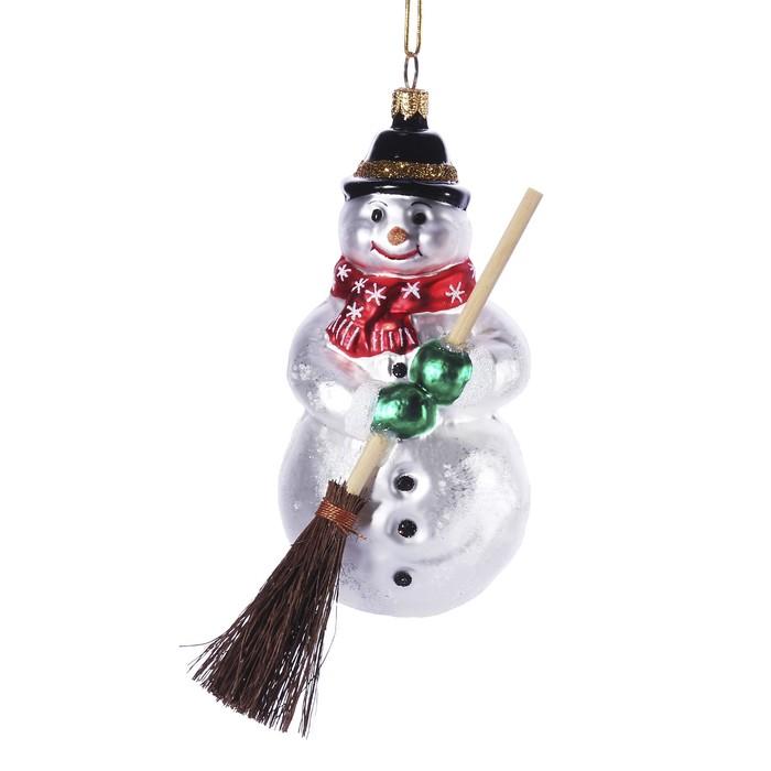 """Ёлочная игрушка """"Снеговик с метлой"""""""