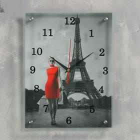 """Часы настенные прямоугольные """"Девушка в красном платье в Париже"""", 30х40 см микс"""