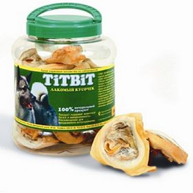 Лакомство для собак TitBit ухо говяжье внутреннее, банка 4.3 л