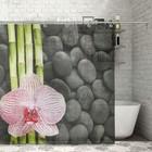 """Штора для ванной 180х180 см """"Орхидея и бамбук"""", полиэстер"""