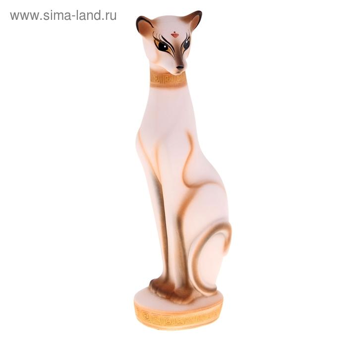 """Сувенир """"Кошка Багира №1"""" большая сидячаябежевая с золотом"""