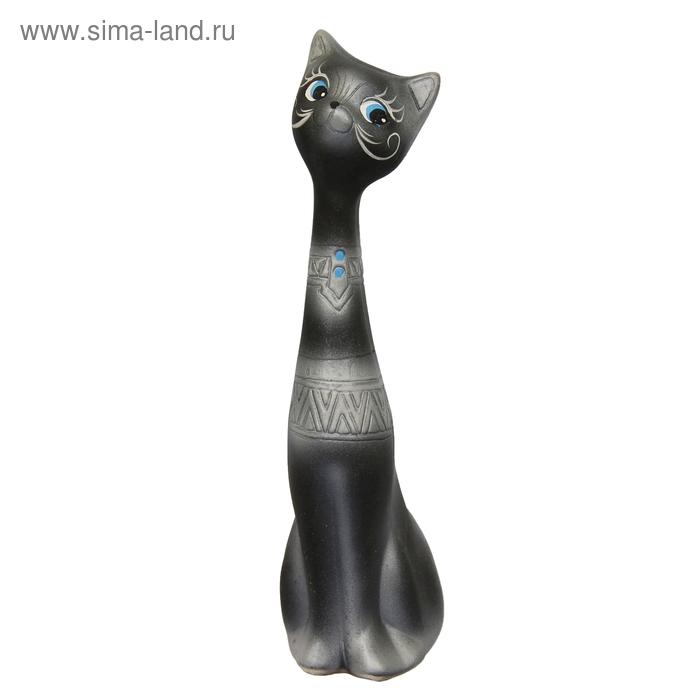 """Сувенир """"Кот мальчик"""" чёрный с серебром"""