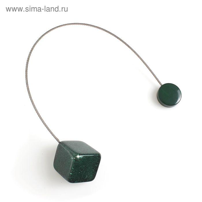 """Подхват для штор на тросике """"Куб"""", цвет зелёный"""