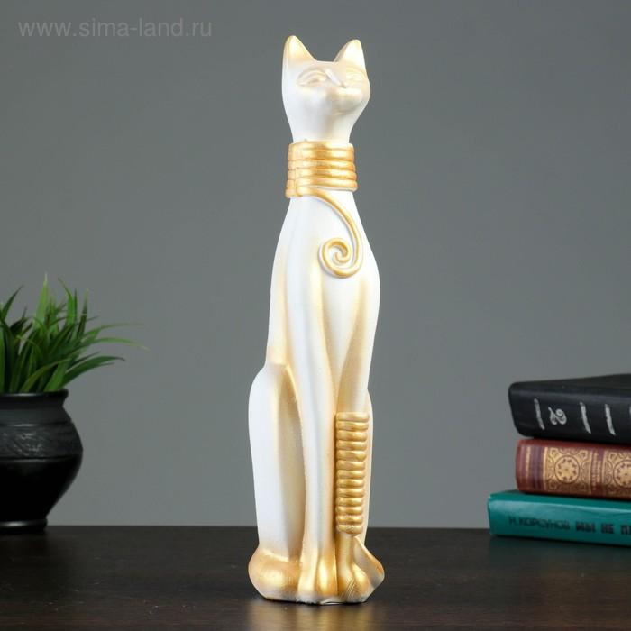 """Сувенир """"Кошка Египетская"""" средняя окольцованная, белая с золотом"""