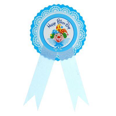 """Значок """"С днём рождения!"""", клоун, голубой цвет"""