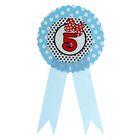 """Значок """"5"""" бантик, голубой цвет"""