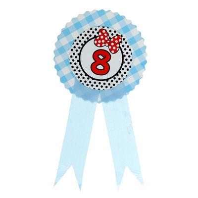 """Значок """"8"""" бантик, голубой цвет"""