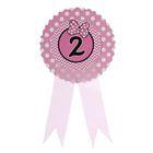 """Значок """"2"""" бантик, розовый цвет"""