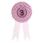 """Значок """"3"""" бантик, розовый цвет"""